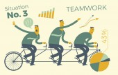 Business infographics, business situations. Teamwork, workers go to the goal in a single way.  Achievement of goal, career, profession. Vector illustration of flat design. Project, contract, diagram, and graphic elements.