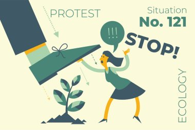 Ecological illustration. The woman protects  tree from destruction, cut down. The activist protects nature. Demonstration, rally, protest. Ecological thinking. Environmental activist. Green. Ecologist.