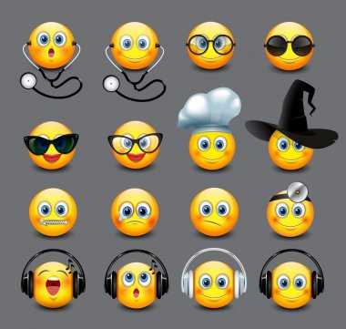 Emoticons set on grey background