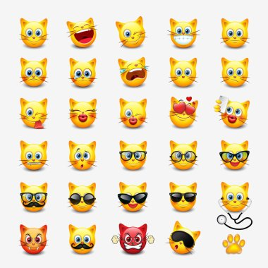 Set of cute cats emoticons