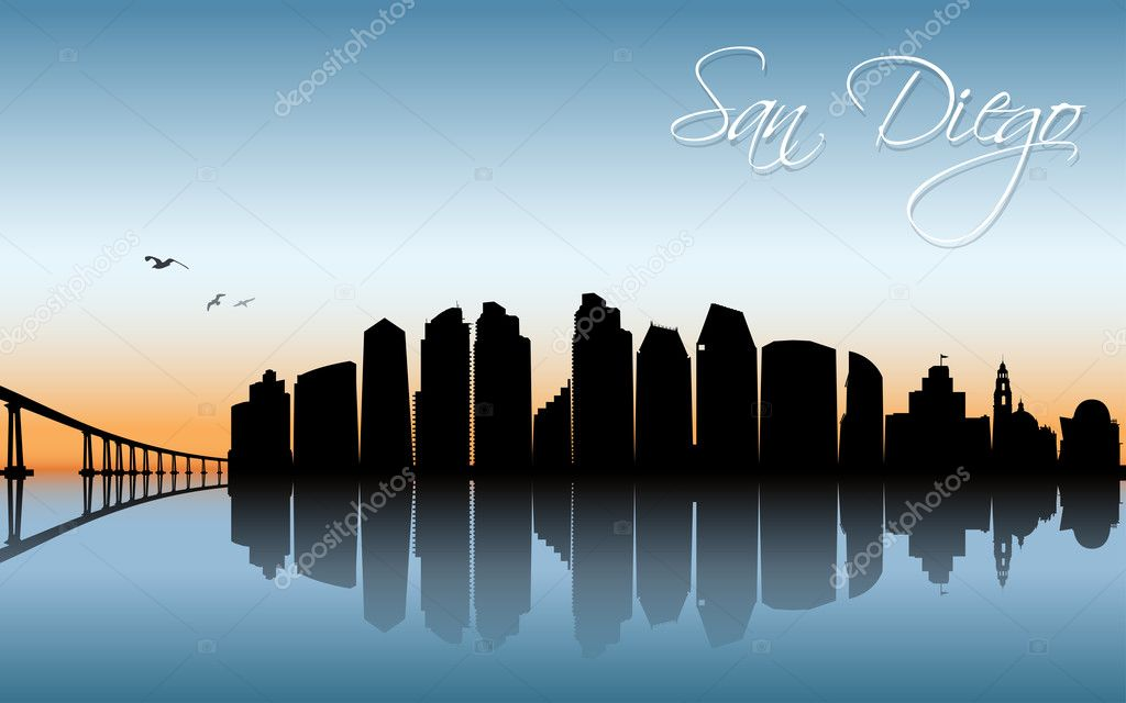 San Diego Cityscape Banner Stock Vector C I Petrovic 127553302