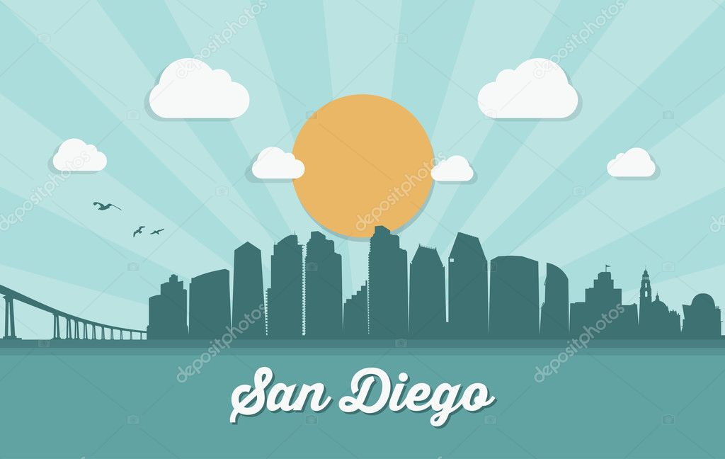 San Diego Cityscape Banner Stock Vector C I Petrovic 127553308