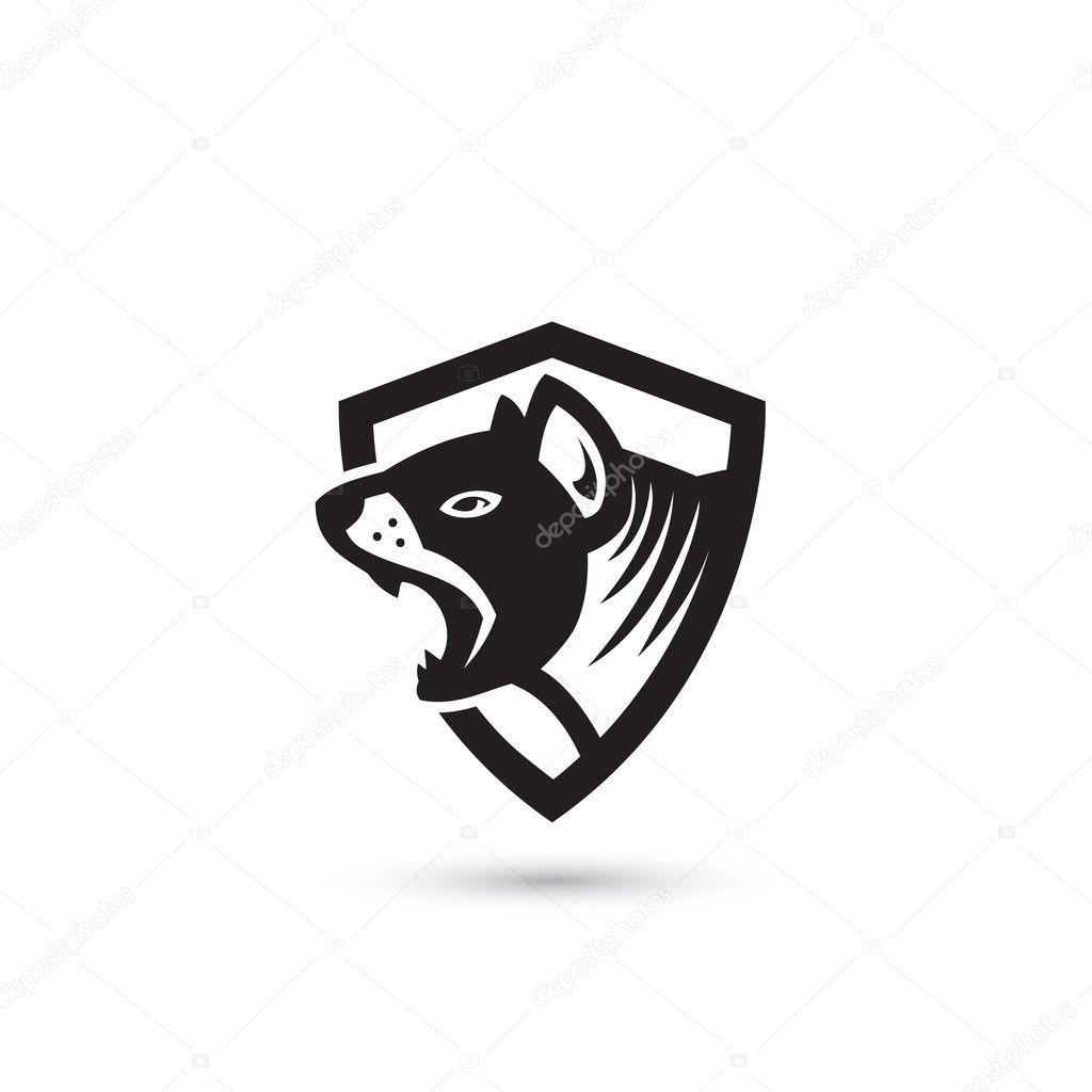 icono de simple escudo de demonio de Tasmania — Archivo Imágenes ...