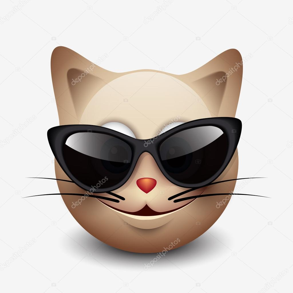 cat emoticon wearing black sunglasses  u2014 stock vector  u00a9 i