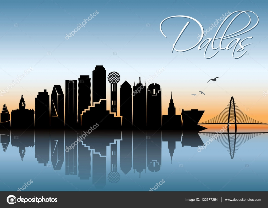 dallas skyline silhouette stock vector i petrovic 132377254