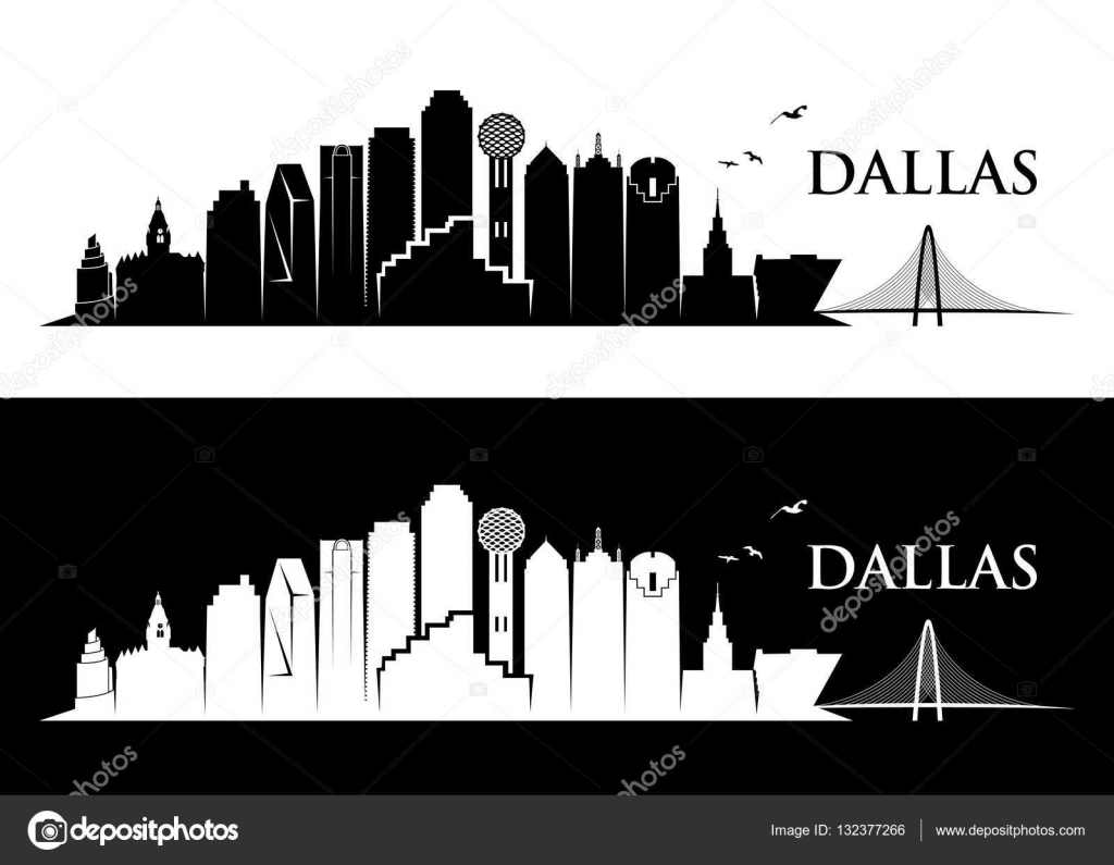 dallas skyline silhouette stock vector i petrovic 132377266