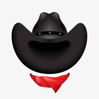 cowboy hat and red scarf