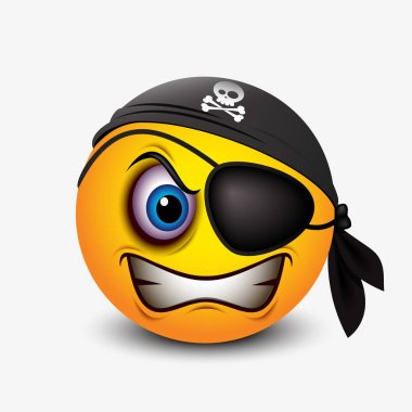 scary emoticon with black pirate bandana