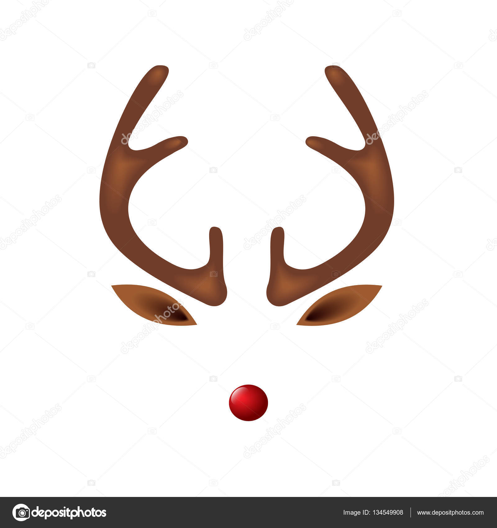 reindeer with red nose template stock vector i petrovic 134549908