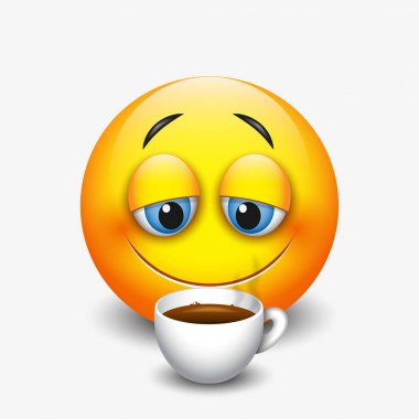 sleepy emoticon drinking coffee