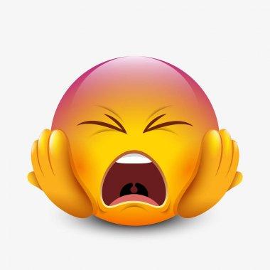 Panic emoticon holding head