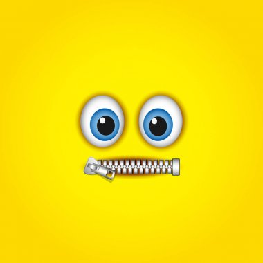 Zipped mouth emoticon isolated