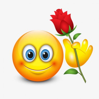 emoticon smiley with flower