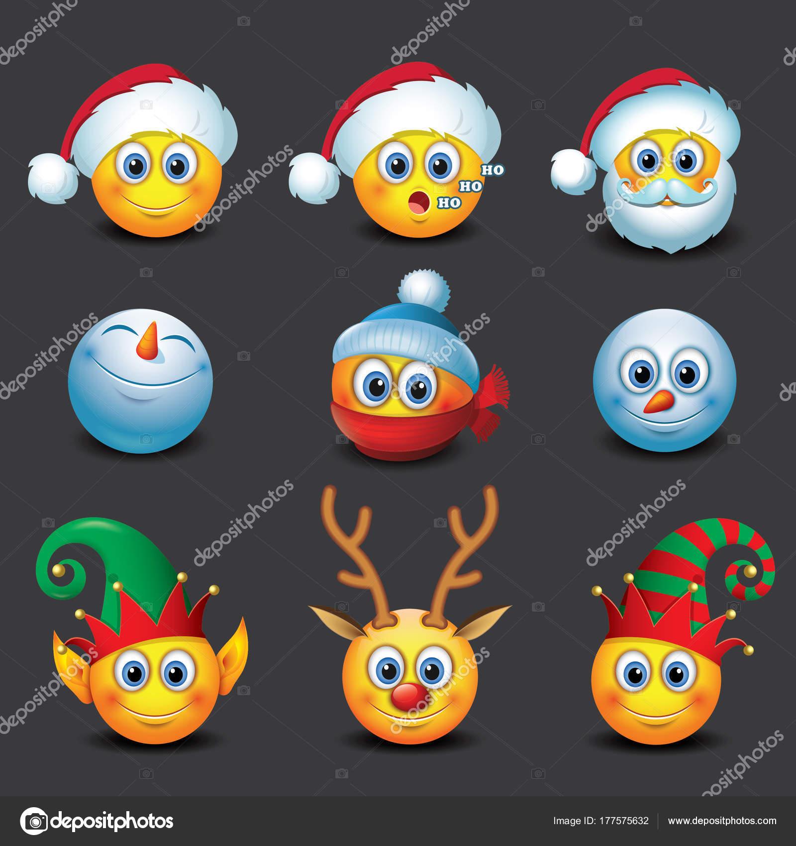 Satz Von Weihnachten Emoticons Winter Emoji Smiley Vektor ...