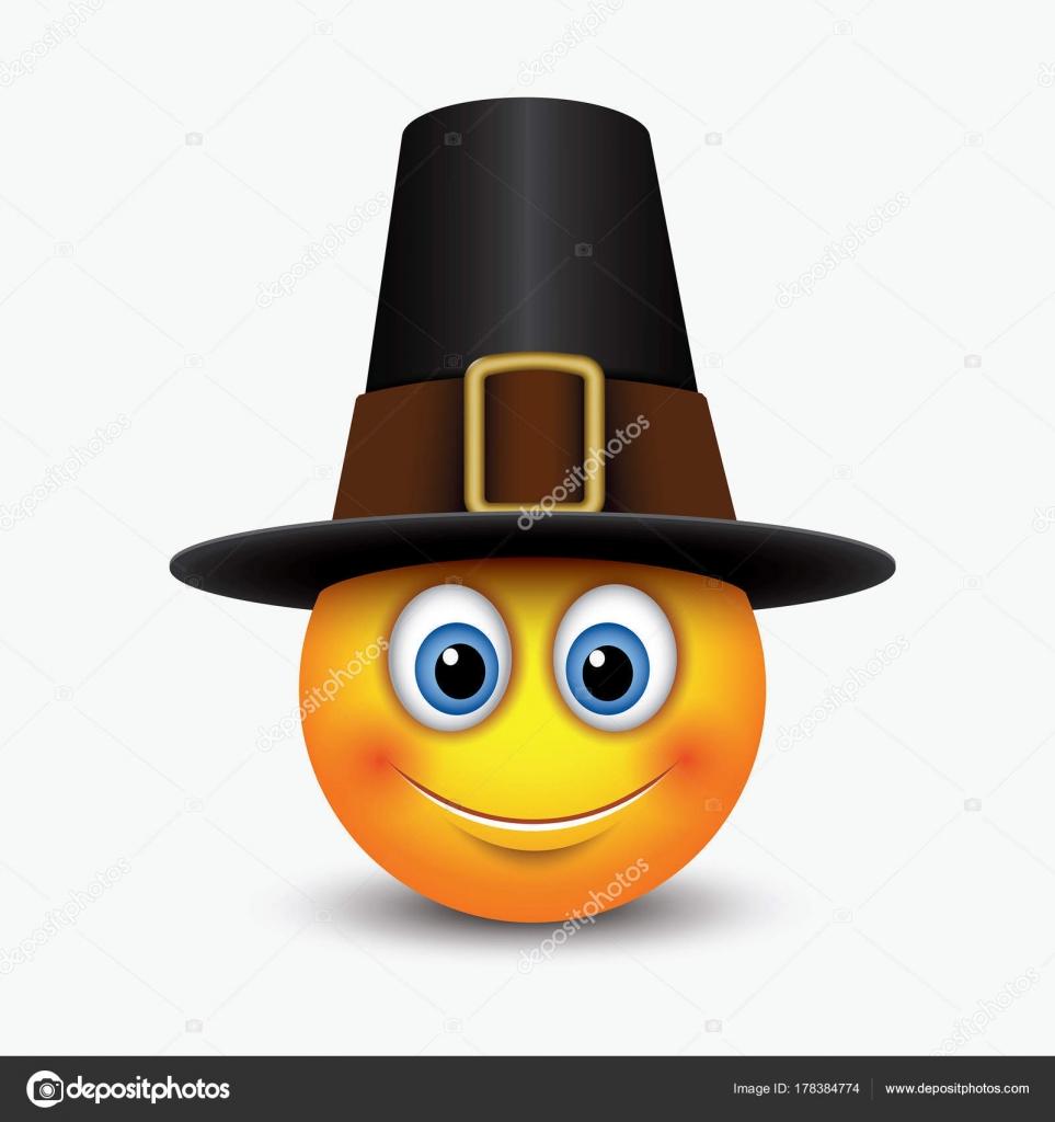 Pilgrim emoji | Cute Thanksgiving Emoticon Wearing Pilgrim
