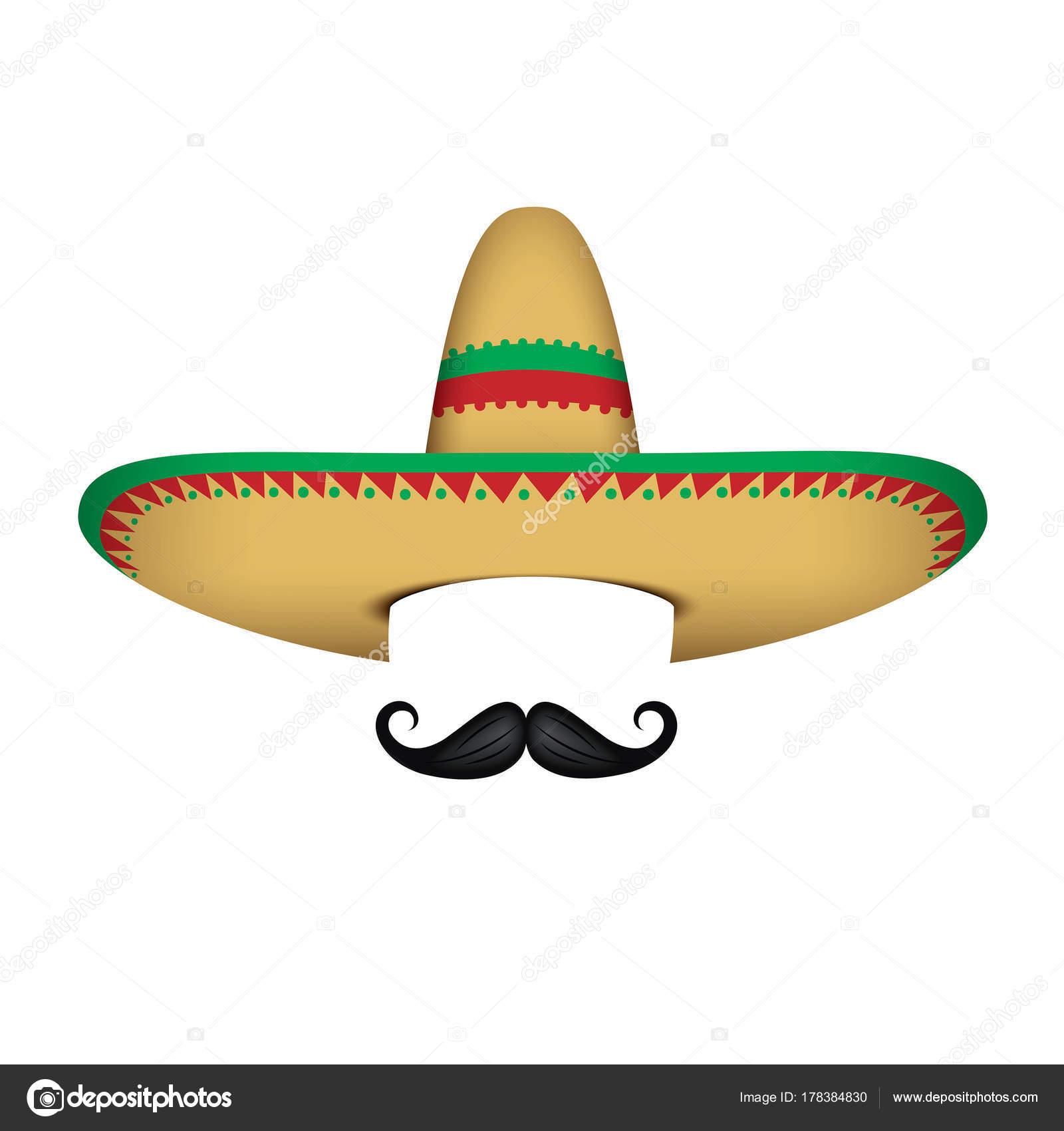 Ilustración Vector Sombrero Mexicano Sombrero Bigote Aislado Blanco —  Archivo Imágenes Vectoriales 0fa97ec2722
