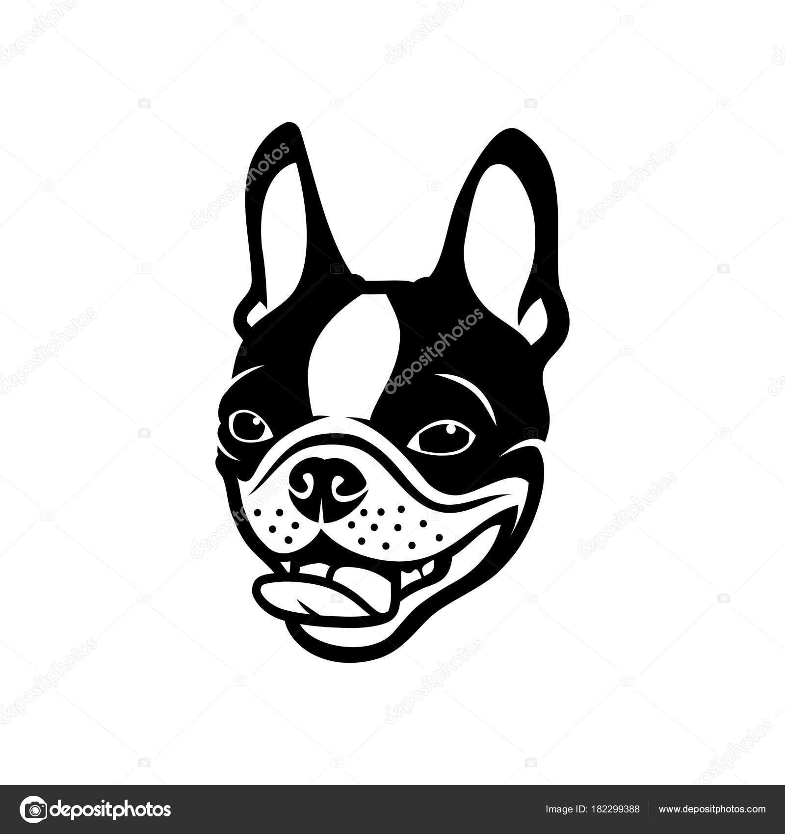 Logotipo Del Perro Boston Terrier Ilustración Vectorial — Archivo ...