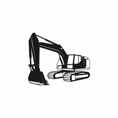 Excavator Silhouette Vector Logo Template. construction, vector illustration