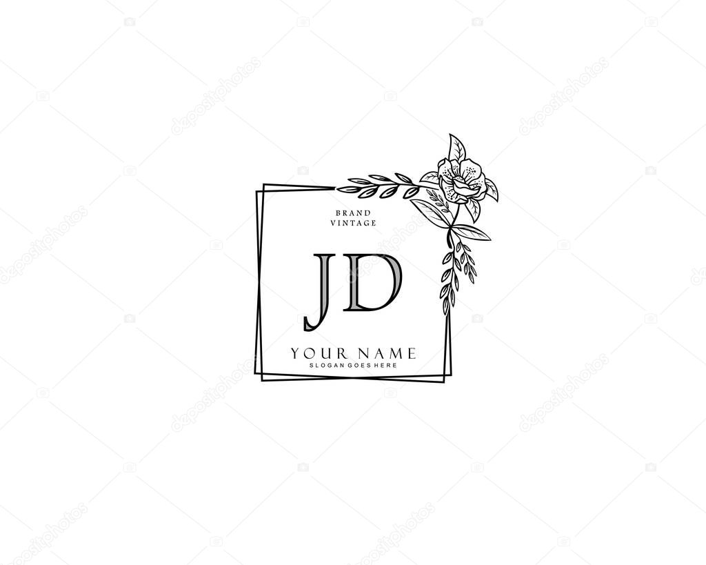 initial jd beauty monogram and elegant logo design handwriting logo of initial signature wedding fashion floral and botanical with creative template premium vector in adobe illustrator ai ai format wdrfree