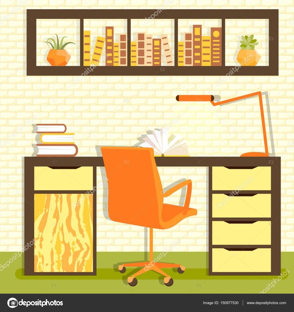 Vektor-Illustration der Stammbibliothek mit Tisch, Stuhl, Lampe ...