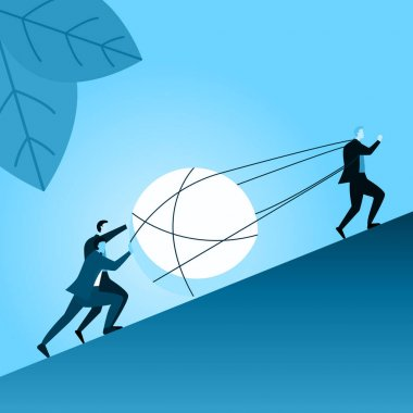 Team Businessman Employee Work Together to Success Pull Big Ball Problem Illustration