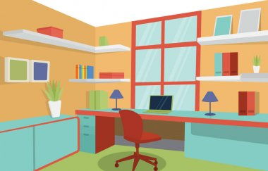 Workspace Workplace Work Room Office Desk Table Interior Illustration