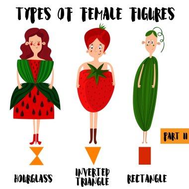 Types of female figures in cartoon design