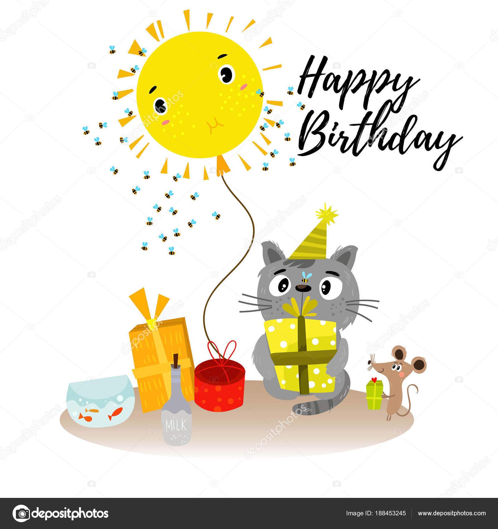 Stilvolle Happy Birthday Hintergrund Im Cartoon Stil Mit Hand Dra Stockvektor
