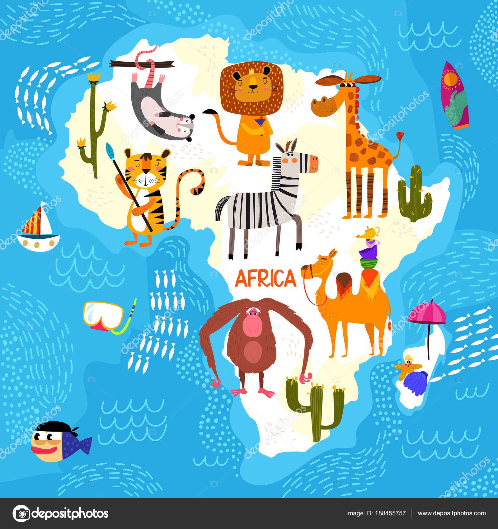 Kid Map Of Africa.Cartoon World Map With Traditional Animals Illustrated Map Of A