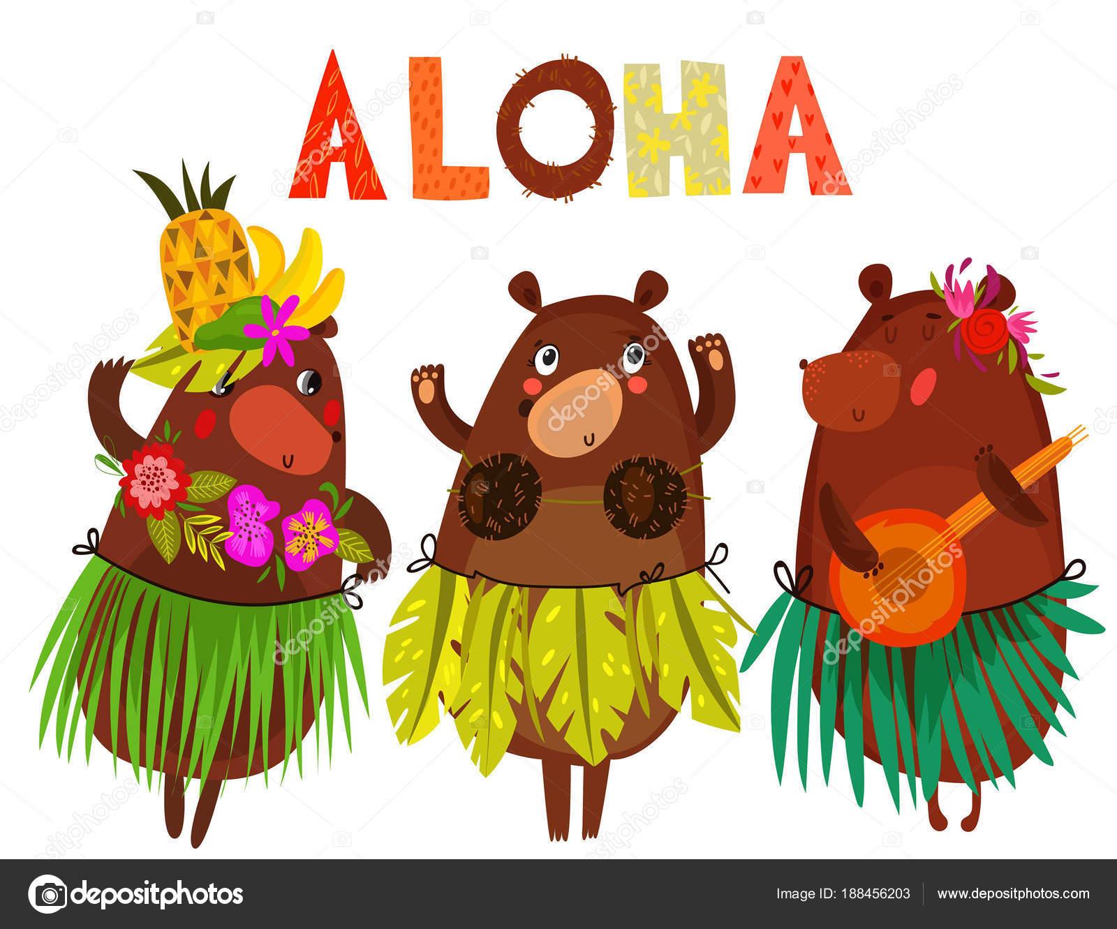 Illustrazione vettoriale con teneri orsetti e fiori aloha for Piani di piantagione hawaiana