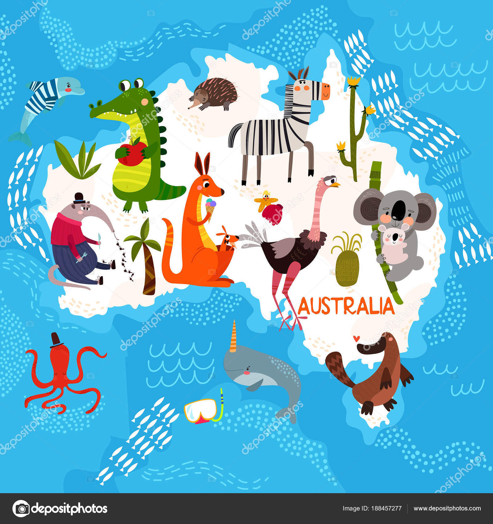 Cartoon world map with traditional animals illustrated map of a cartoon world map with traditional animals illustrated map of a stock vector gumiabroncs Images