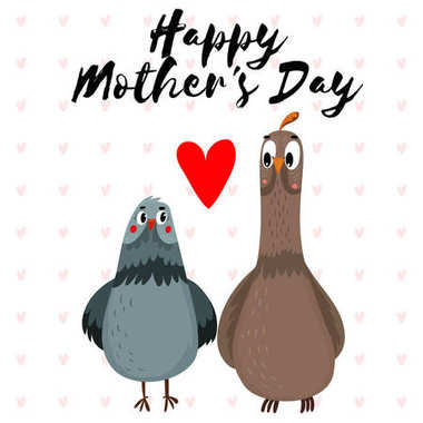 Happy Mothers Day beautiful greeting card in cartoon style. Cut