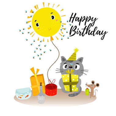 Stylish Happy birthday background in cartoon style with hand dra