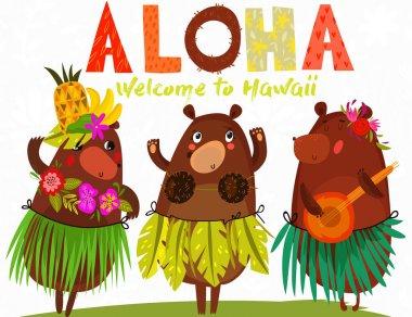 Vector illustration with cute bears and flowers. ALOHA. Hawaiian