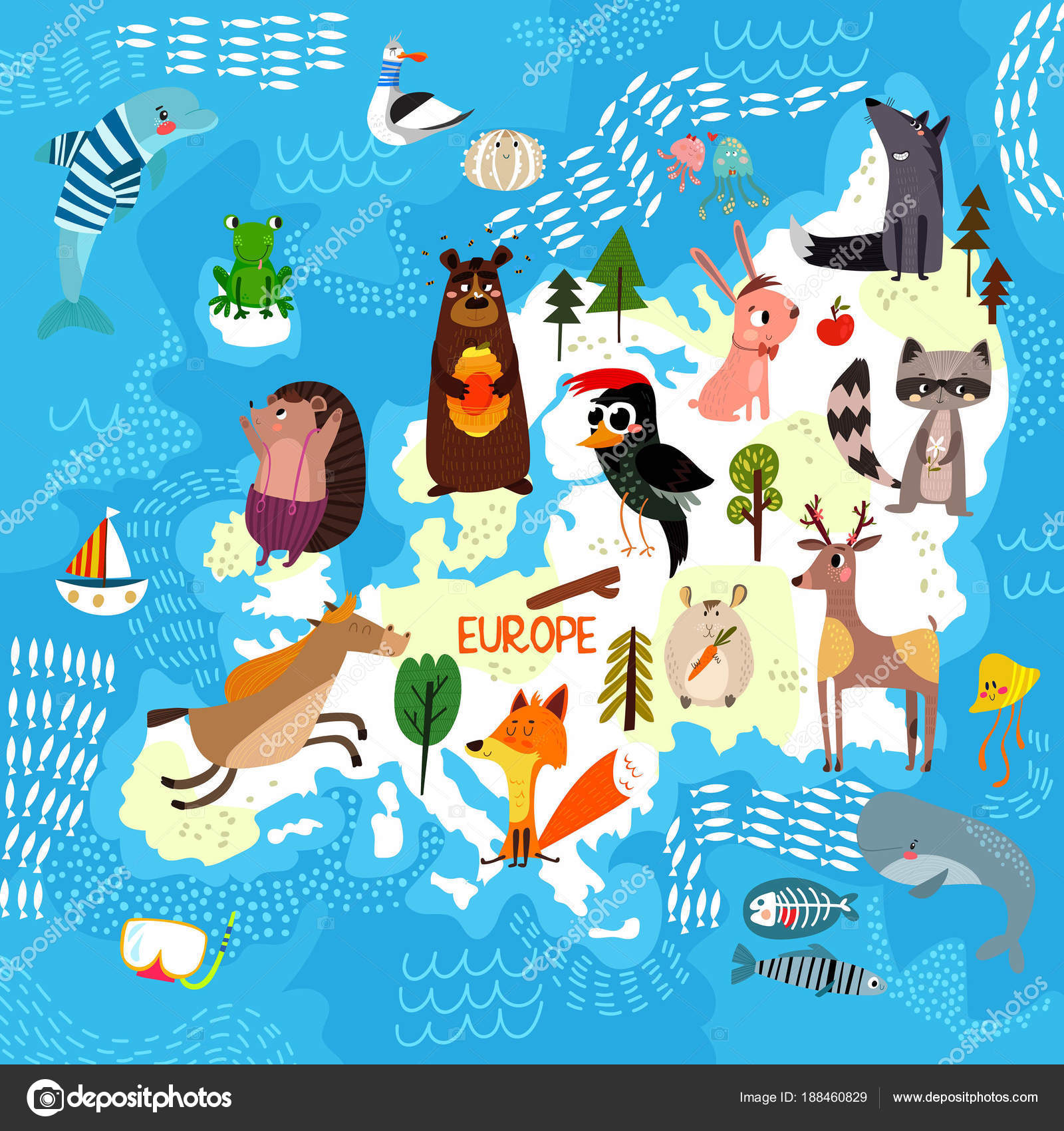 Cartoon world map with traditional animals illustrated map of e cartoon world map with traditional animals illustrated map of europector illustration for children preschool education and kids design stock vector gumiabroncs Images