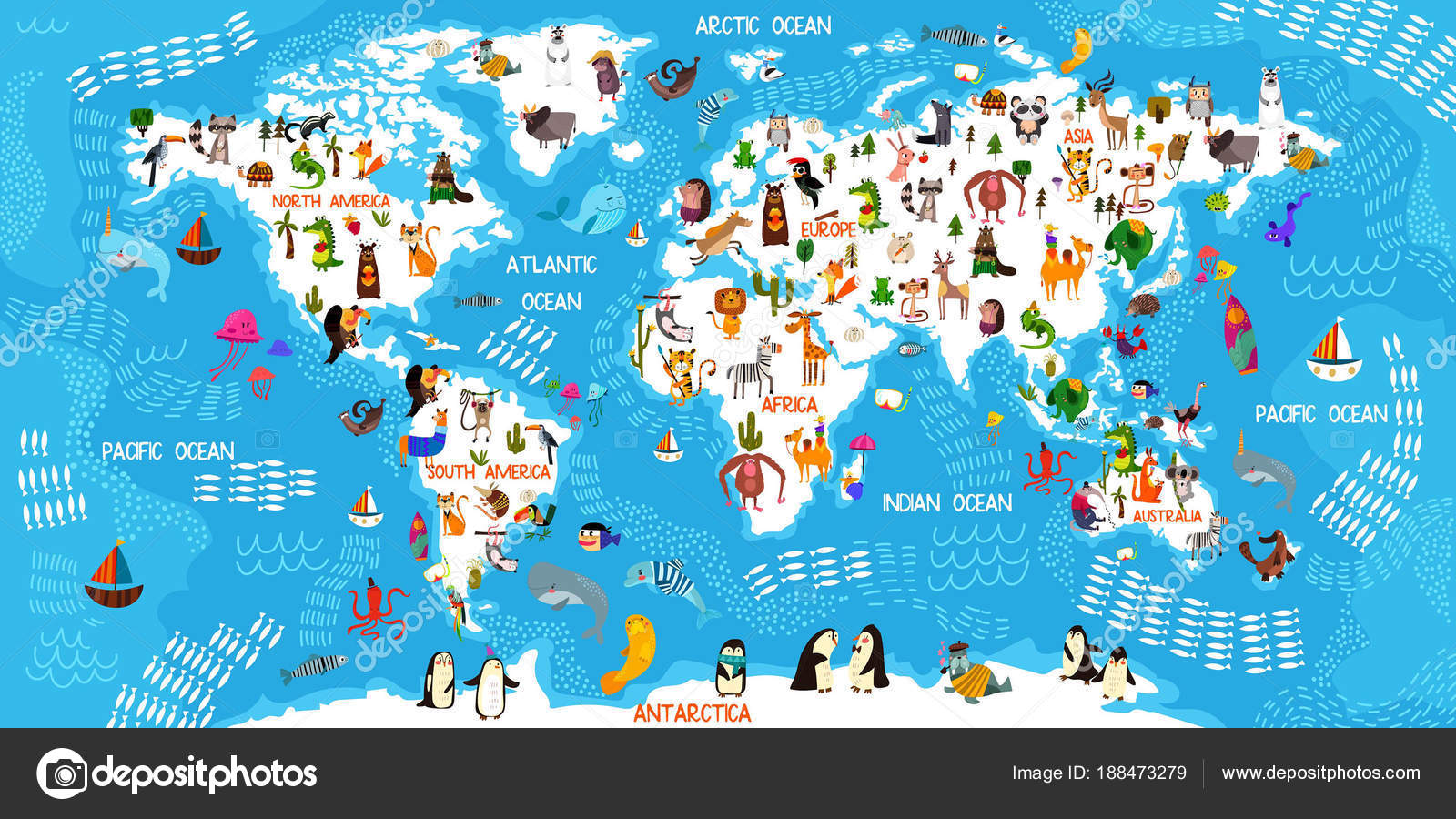 Cartoon Animal World Map Animals From All Over The World Oceans