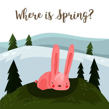Where is spring? Hand drawn illustration with cartoon rabbit.Bri