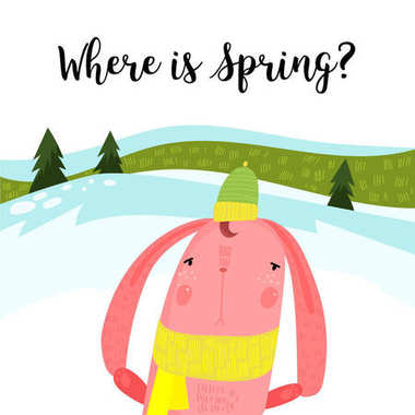 Hello spring greeting card. Hand drawn illustration with cartoon