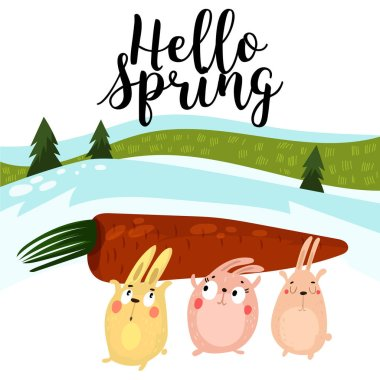 Hello spring greeting card. Hand drawn illustration with cartoon