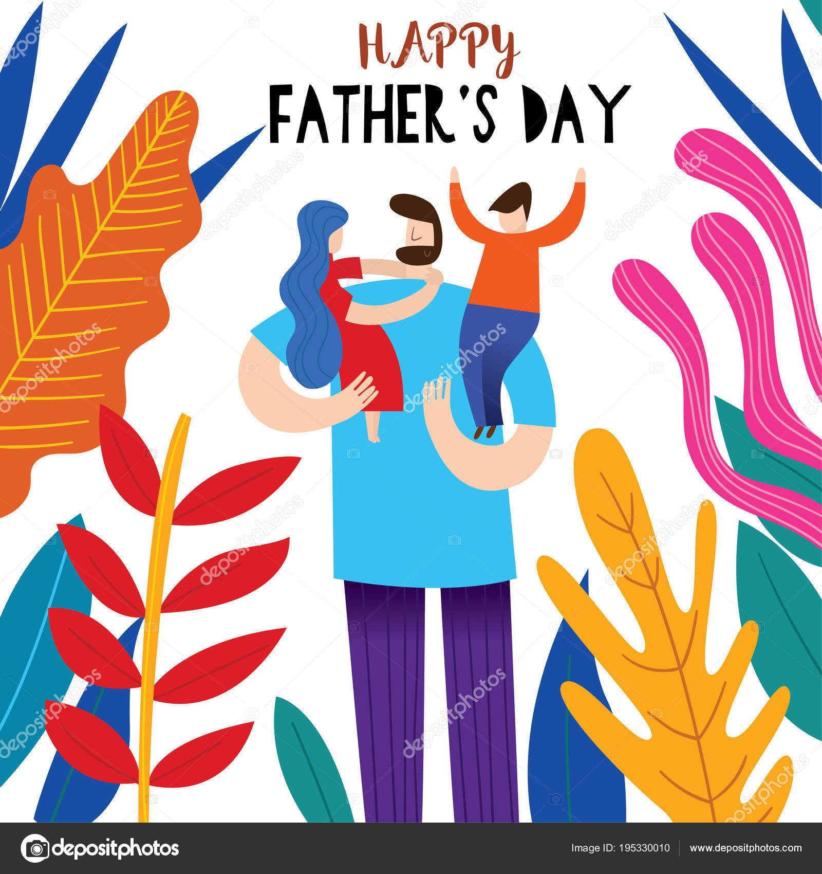 Happy Fathers Day Greeting Card Stock Vector Ovocheva 195330010