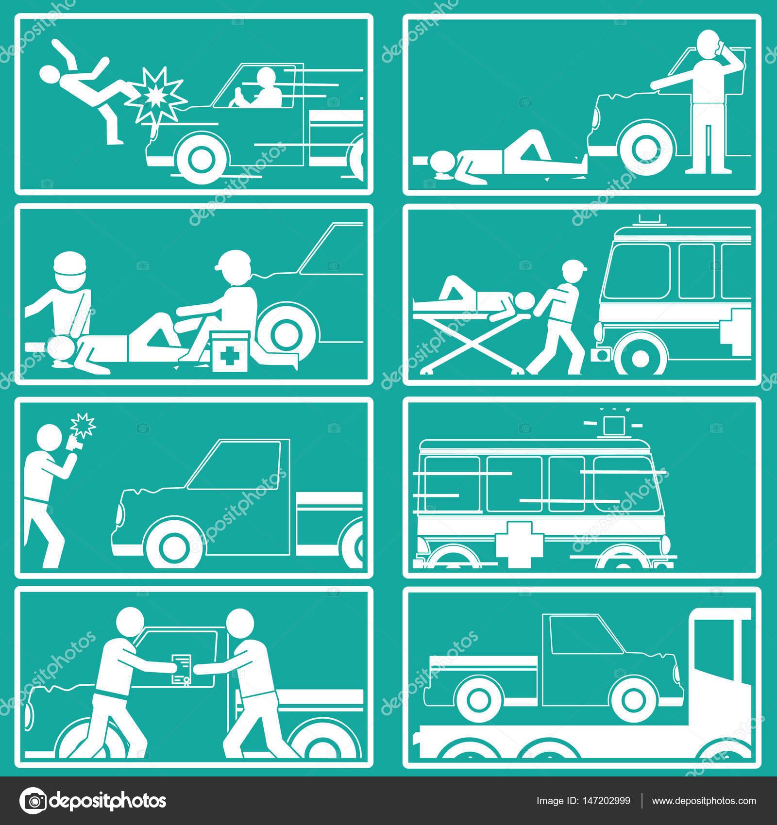 Forma de silueta sobre peatonal afectado por recoger camión — Vector ...