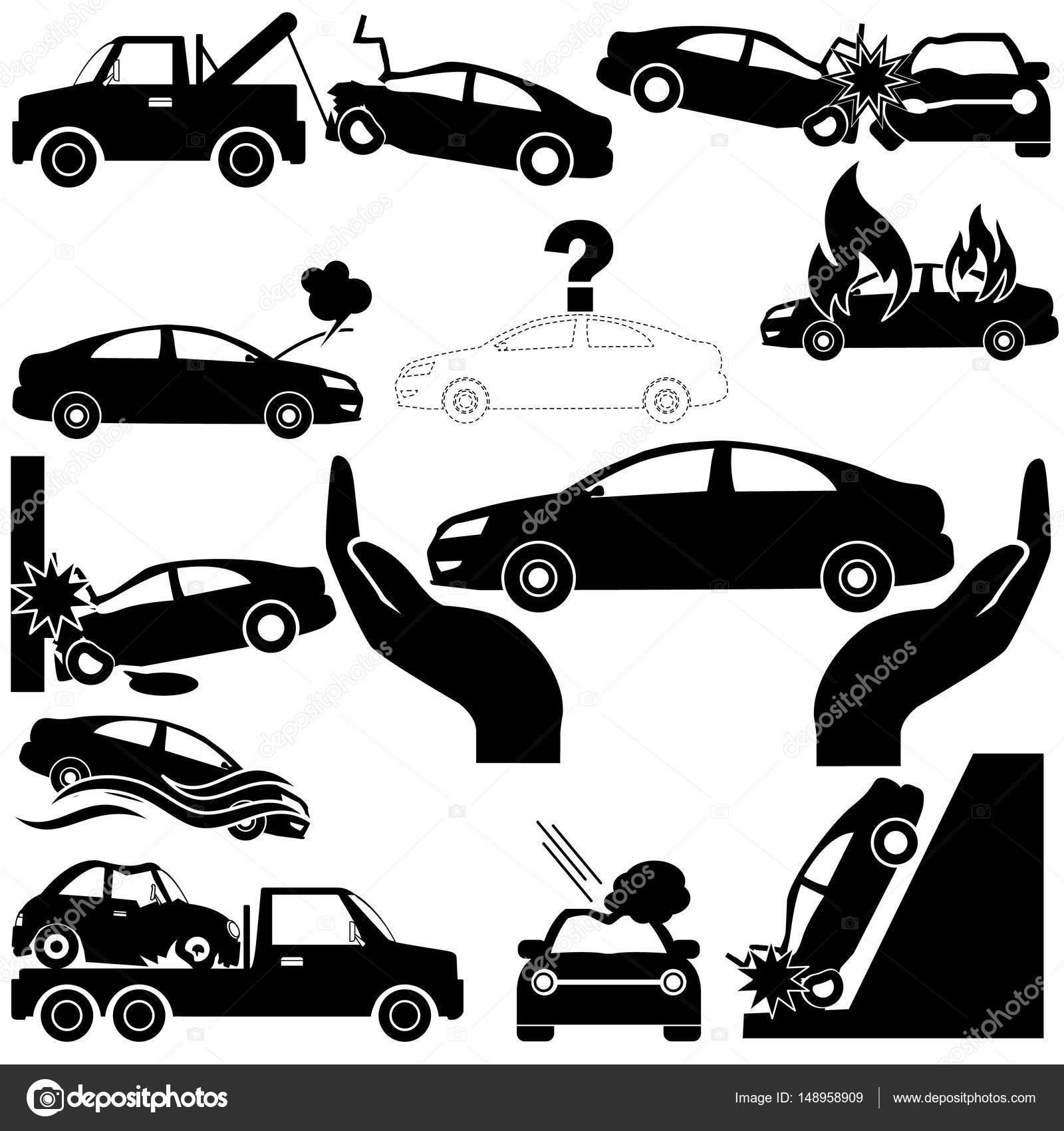 Autounfall und Auto-Versicherung-Symbole — Stockvektor © Masterkoii ...