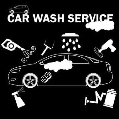 Car wash banner drawing by white color