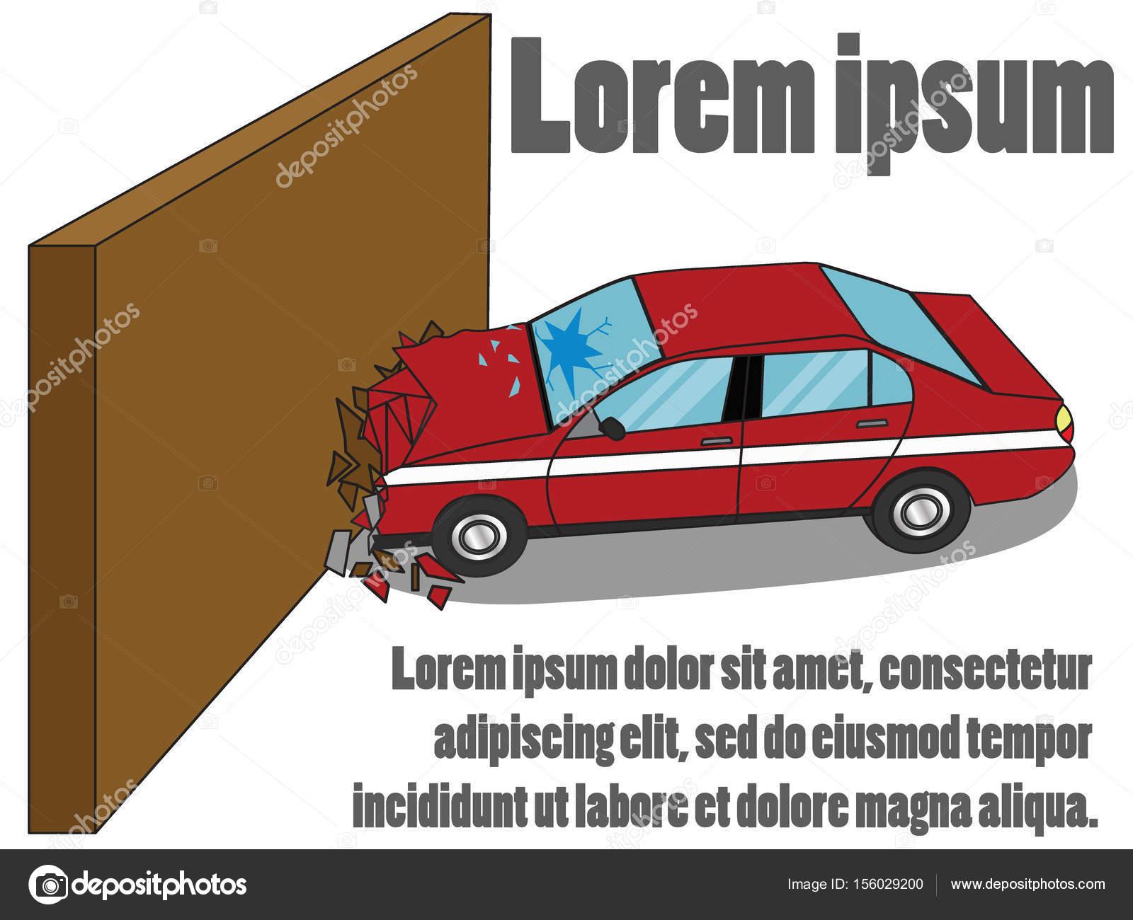 Auto Gegen Die Wand Einfachen Vektor Stil Stockvektor