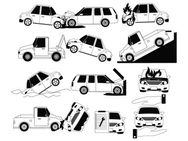 Car crash and accidents on the road icons