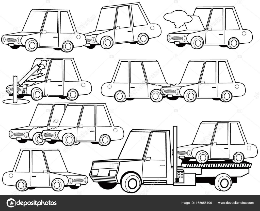 Car Crash And Car Accident Structure Icons Set Outline Concept