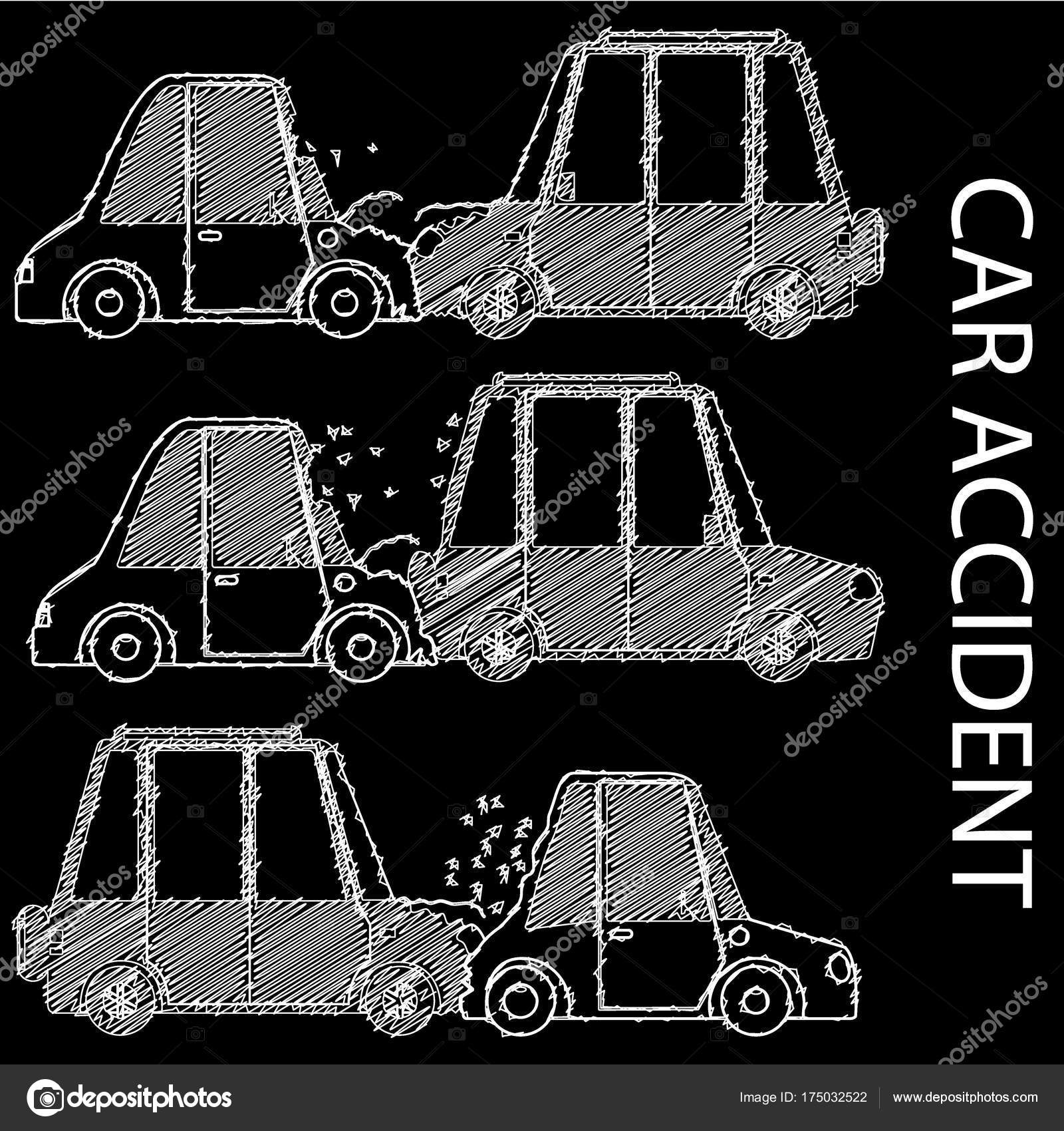 Hand drawing car crash and accidents. — Stock Vector © Masterkoii ...