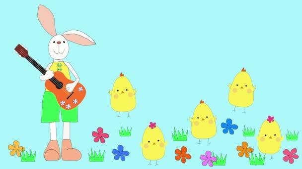 A nyúl és a csirkék ünneplik a húsvétot. A nyúl gitározik, a csirkék táncolnak a virágmezőn.