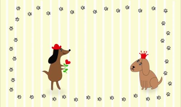 Happy Valentines Day Animation. Zwei Hunde begegnen sich. Hunde sind verliebt und sehr glücklich.