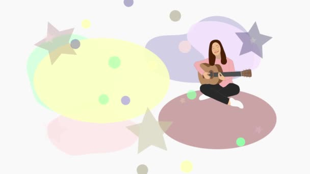 Animáció. A lány gitározik és énekel. Színes formák, csillagok és körök mozognak, méretük változik, forognak.